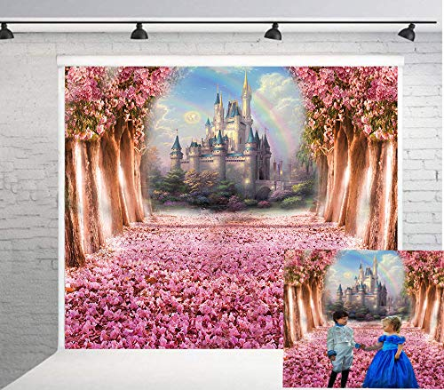 BoTong Dreamy Cherry Blossoms Fairytale Castle Backdrop Photography Spring Fairytale Castle Children Backdground for Baby Prince Girl Birthday Party Booth Props Banner 6x6ft th18-6x6ft ()