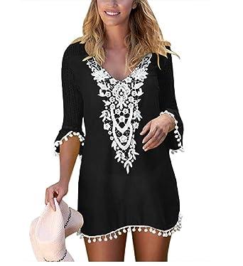 aebdd55d0c5d3 NFASHIONSO Women Crochet Chiffon Tassel Swimsuit Bikini Pom Pom Trim Swimwear  Beach Cover up/Beach Dress: Amazon.co.uk: Clothing