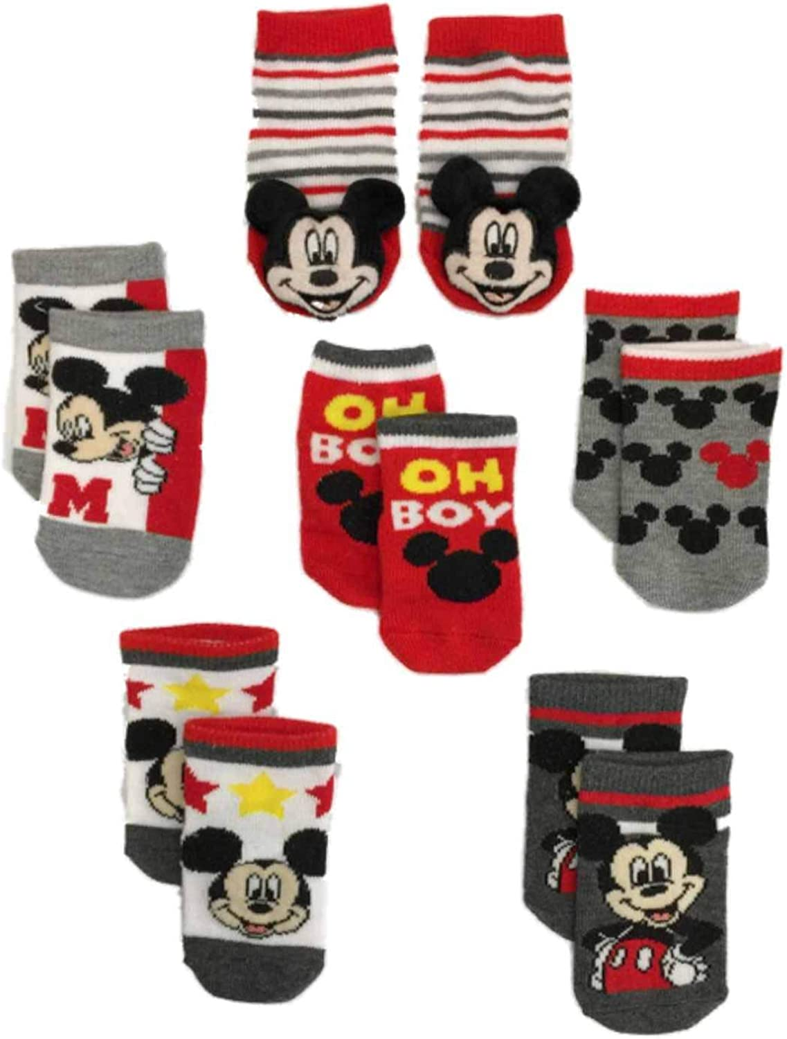 Mickey Mouse baby-boys 6 Pack Quarter Socks Socks
