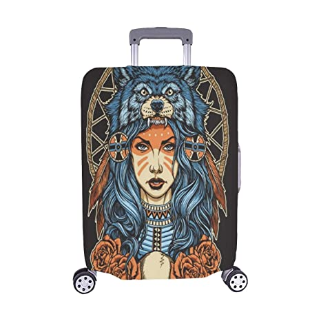 Cubierta de Maleta Protectora de Equipaje de Viaje de Nativo Americano Lobo Tocado de Lobo Completo