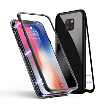 huge selection of baef5 1e99d Jonwelsy Huawei Mate 20 Pro Case, Magnetic Adsorption Metal Frame Case with  Built-in Magnet Flip Cover, Transparent Back Cover for Huawei Mate 20 Pro  ...