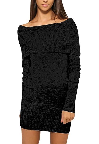 48155947d0231 AIYUE Vestito Donna Sottile Vestitini Eleganti Maglioni Autunno Invernale  Maniche Lunghe Fuori Spalla Abiti da Sera Cerimonia Cocktail Bodycon Dress   ...