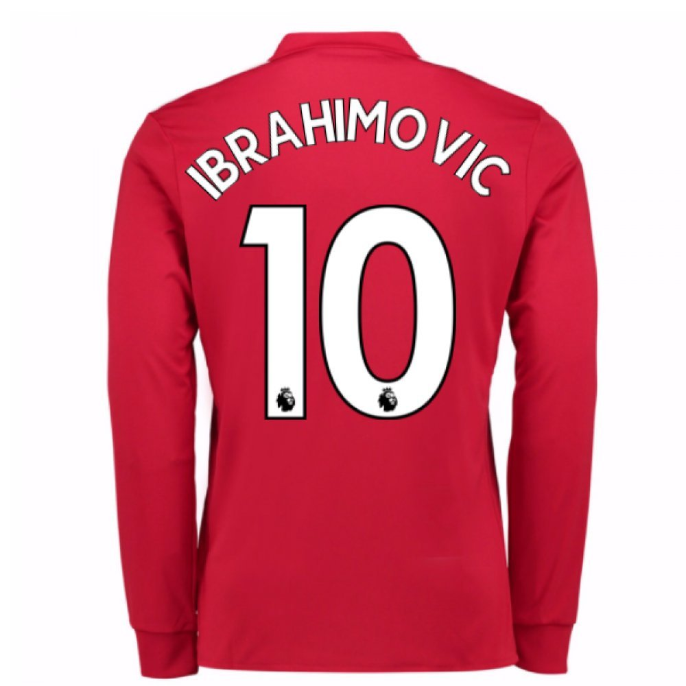 20Zlatan Ibrahimovic 107-20Zlatan Ibrahimovic 108 Man United Long Sleeve Home Football Soccer T-Shirt Trikot (Zlatan Ibrahimovic 10)