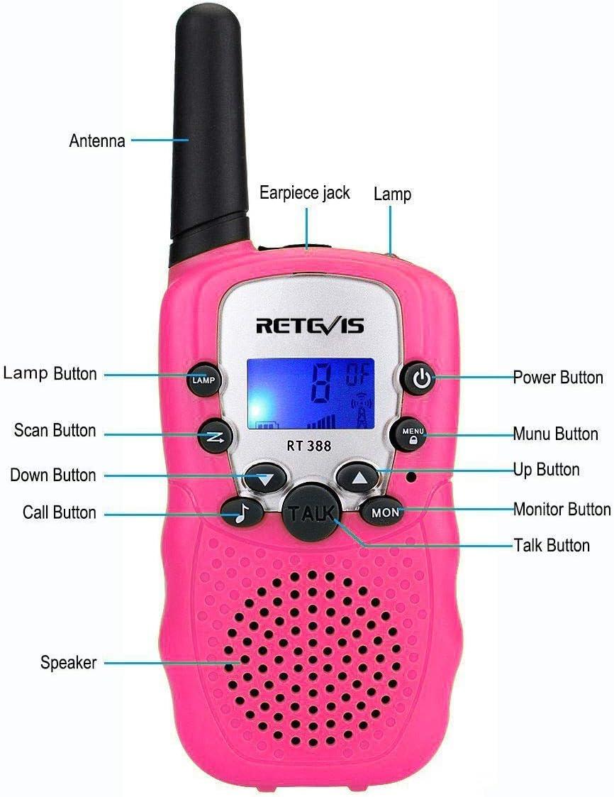 Retevis RT388 Walkie Talkie Niños PMR446 8 Canales LCD Pantalla Función VOX 10 Tonos de llamada Linterna Incorporado Walkie Talkie Niñas Juguete Regalo para Niños (Rosa, 1 Par): Amazon.es: Electrónica