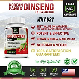 NutraChamps Korean Red Panax Ginseng - 120 Vegan Capsules - 1000mg Servings Pure Extra Strength Root Extract w/ High Ginsenosides for Energy, Immune & Mental Health, Stress, Sexual & Overall Wellness