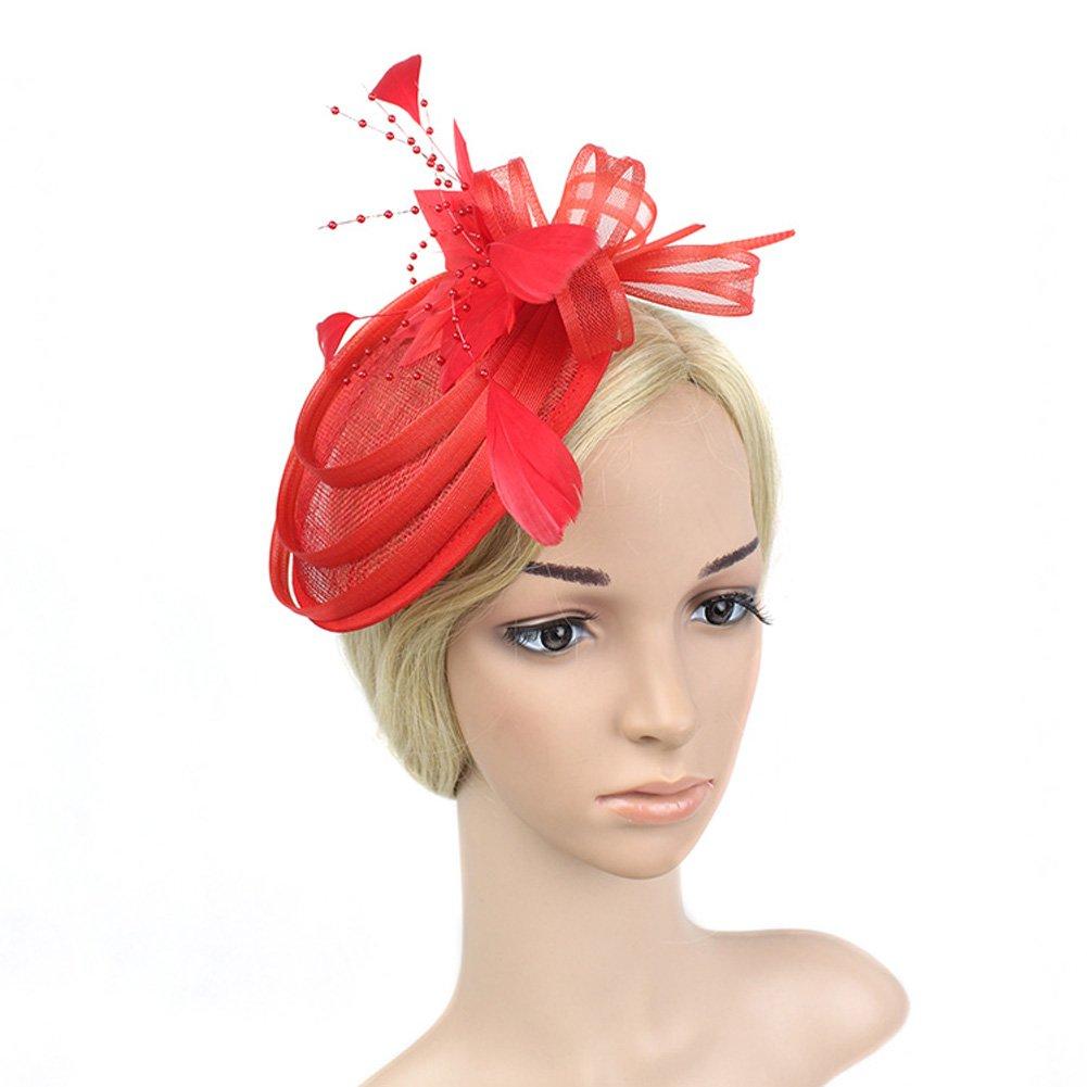 Yiweir Top Hat Wedding Bride Accessory Headpiece Fascinator Red Net Headdress