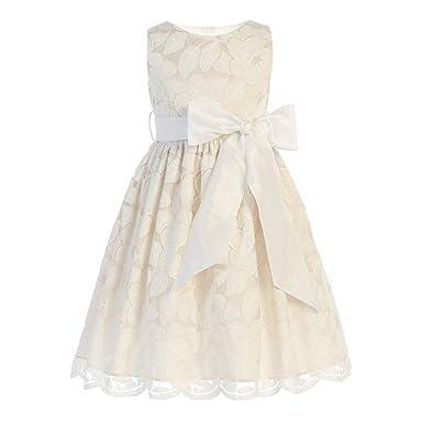 bb0f58f21b6 Sweet Kids Little Girls Champagne Jasmine Lace Bow Flower Girl Dress 2