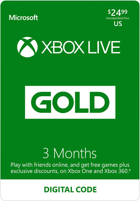 Amazoncom Xbox Live Gold 3 Month Membership Digital Code