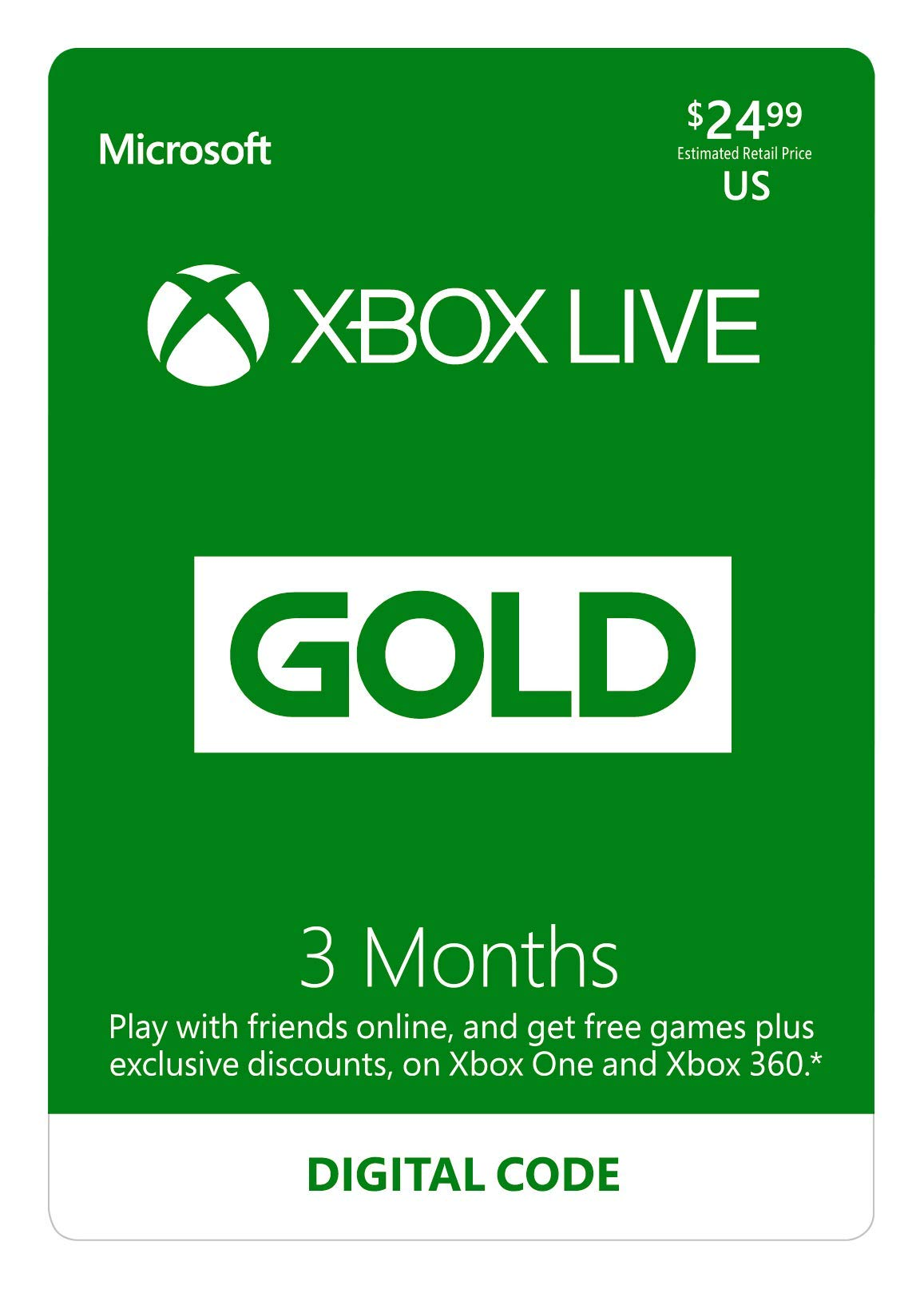 Xbox Live Gold: 3 Month Membership [Digital Code] by Microsoft