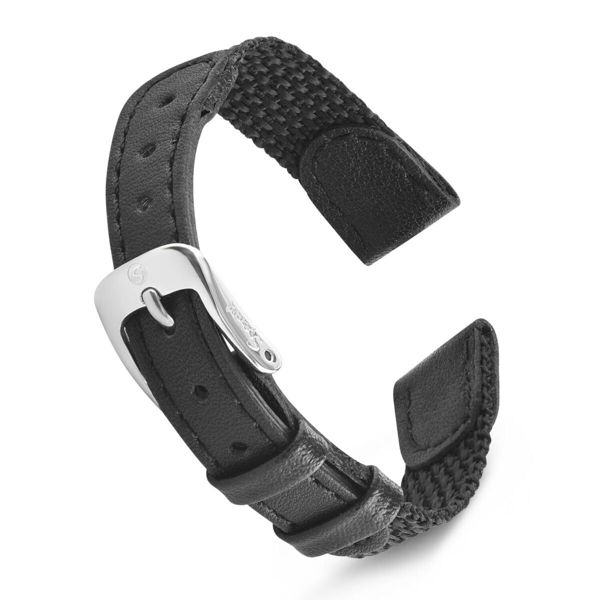 Speidel Swiss Army Style Ladies Replacment Strap - 12mm, Genuine Leather and Black Nylon Combination Watch Band, Stainless Steel Meal Clasp
