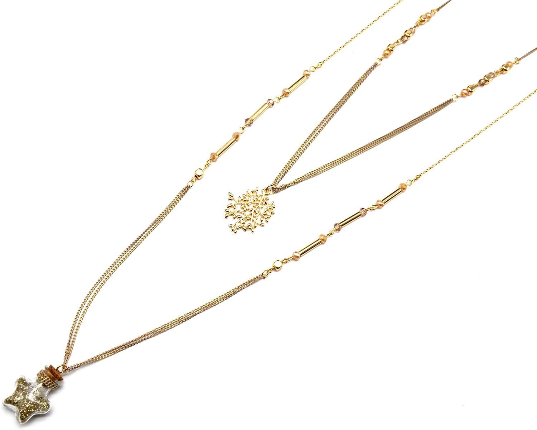 CL1139E salto-Collar con varias vueltas de perlas, diseño botella, metal y cristal, diseño de lentejuelas, color dorado, modo de fantasía