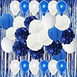 Furuix White Navy Blue Party Balloons Air Ballons Blue Foil Curtain Tissue Pom Pom Paper Lanterns for Navy Blue Themed Party Wedding Paper Garland, Bridal Shower Decor Baby Shower Decoration