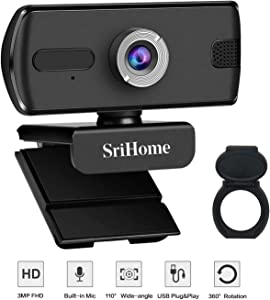 Webcam with Microphone for Desktop, Full HD 1080P Upgrade 3MP USB Computer Web Camera with Privacy Cover and Noise Reduction Mic for Windows Mac OS, Video Streaming, Conference, Gaming, Online Classes
