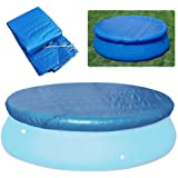 Lixada Round Pool Cover Water Resistant PE Swimming Pool Cover Pool Round Cover Cloth Dust-Proof Tarpaulin, Round Easy…