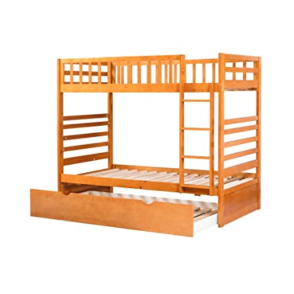 new product bc4b2 7c629 Amazon.com: Bunk Bed with Trundle,JULYFOX 3 Bed Frame Twin ...