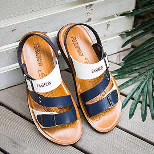 Cuero De Aire Los Baotou Los WKNBEU Al De Libre Sandalias Blue Calzan Hombres Casuales La Respirables De Zapatos Playa Blancas Azules OCCTqI