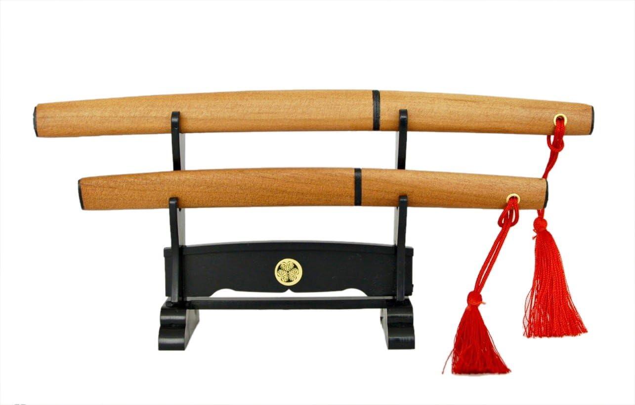 310 Japanischer Brief/öffner Doppel Katana Schwert braun mit St/änder Model Nr