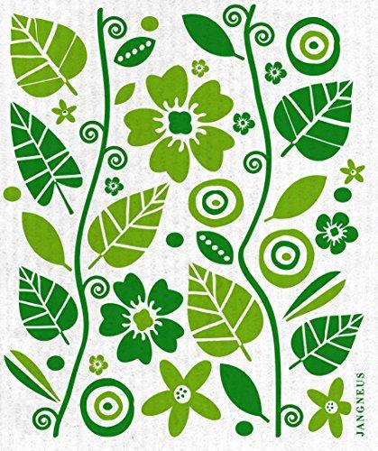 Swedish Dishcloth, Set of 4 (BG) Black & Green Plants Designs by Trendy Tripper (Image #2)