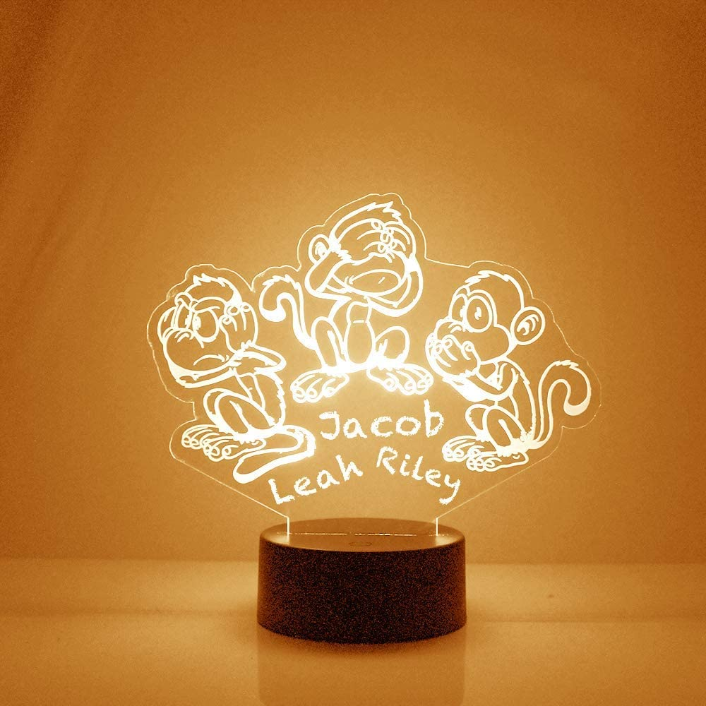 Animal Night Light, Personalized Free, Bedside Lamp with 16 Colors and Remote Control - Great Animal Birthday Gifts for Girls or Boys (Monkeys)