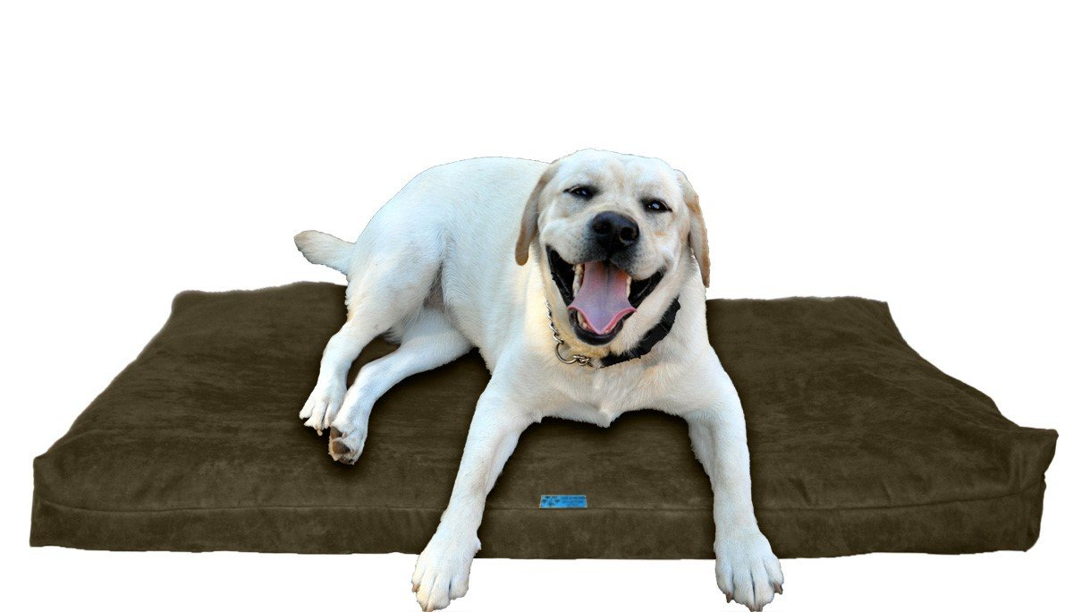Olive Microfiber Large 40\ Olive Microfiber Large 40\ Five Diamond Collection Shredded Memory Foam Orthopedic Bed with Removable Washable Cover and Water Proof Inner Fabric, Large (40-Inch-by-35-Inch), Olive Microfiber, for Dogs