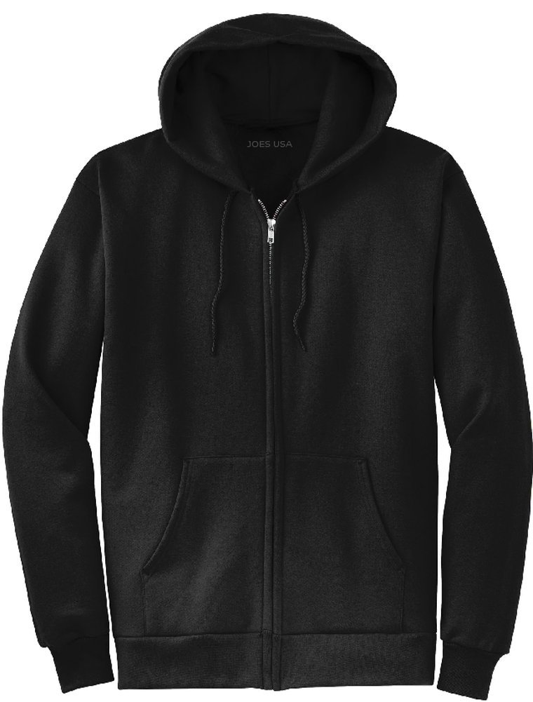 Joe's USA tm Full Zipper Hoodies - Hooded Sweatshirts Size L, Black
