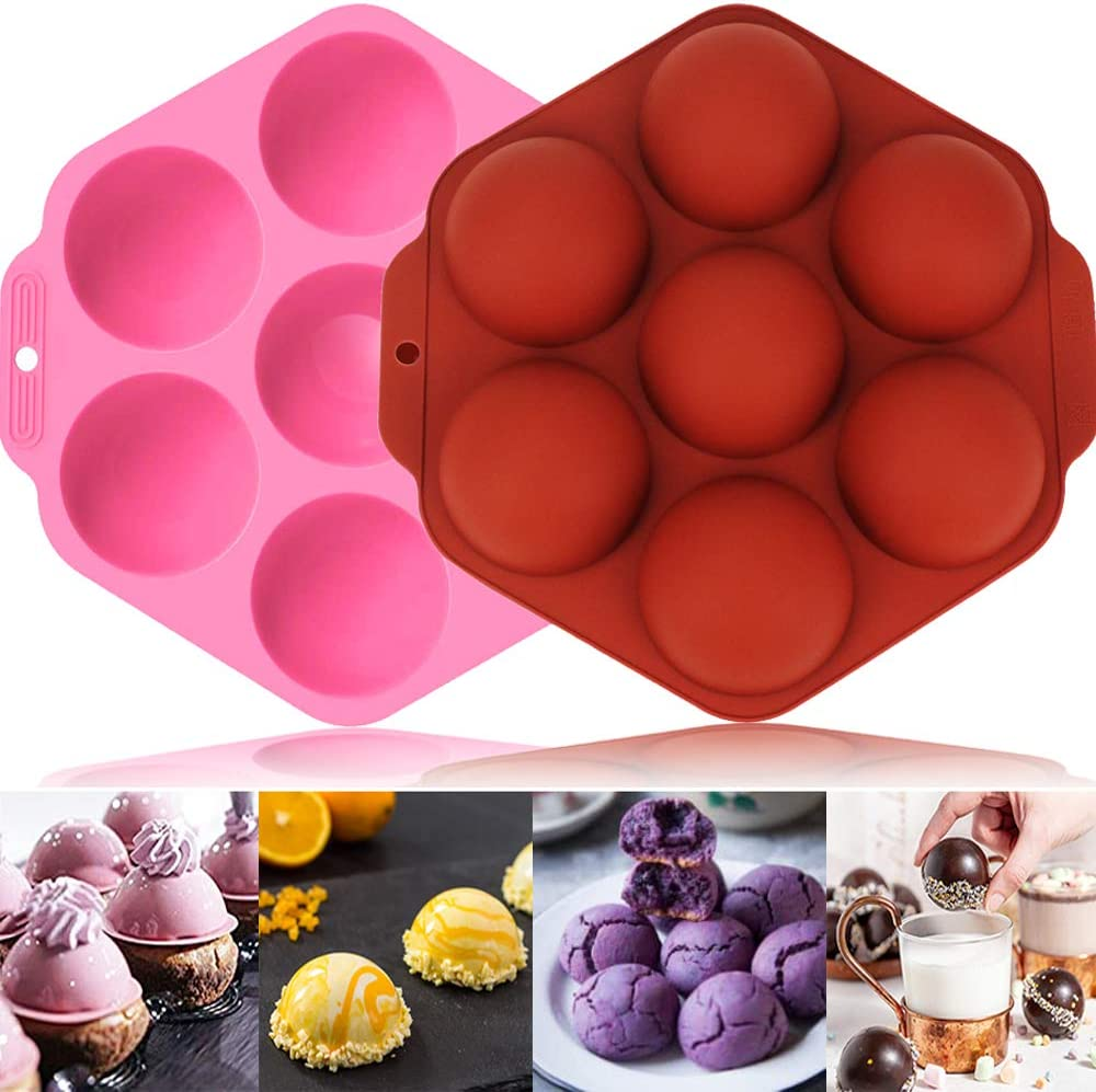 2PCS Hot Chocolate Bomb Molds 9.6 Inches, Hot Cocoa Bomb Silicone Molds, Making Hot Chocolate Bombs at Home Cake Pop Mold Valentine's Day Surprise Chocolate Bombs Silicone Molds for Baking