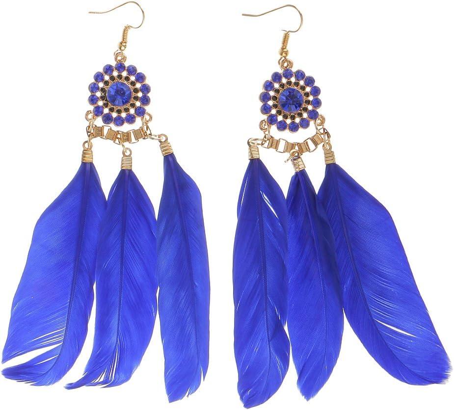 Hellery Estilo Bohemio De Plumas Pendientes Largos De Diamantes De Imitación Caída De La Borla De Las Mujeres Azules