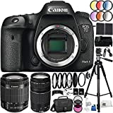 Canon EOS 7D Mark II DSLR Camera 37PC Accessory Kit - International Version (No Warranty) w/ Canon EF-S 18-55mm f/4-5.6 IS STM Lens, Canon EF 75-300mm f/4-5.6 III Lens, MORE