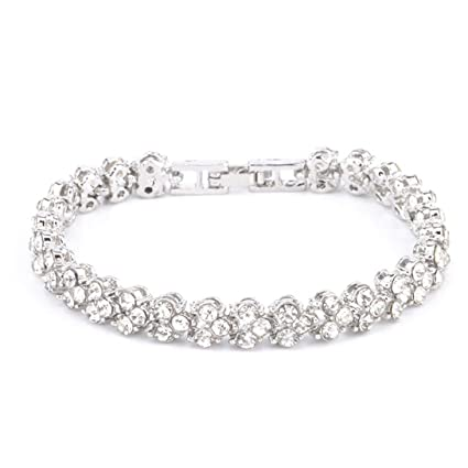 1da0d832f408 Amazon.com : Botrong Fashion Roman Style Women Crystal Diamond Bracelets  Gifts (Silver) : Garden & Outdoor