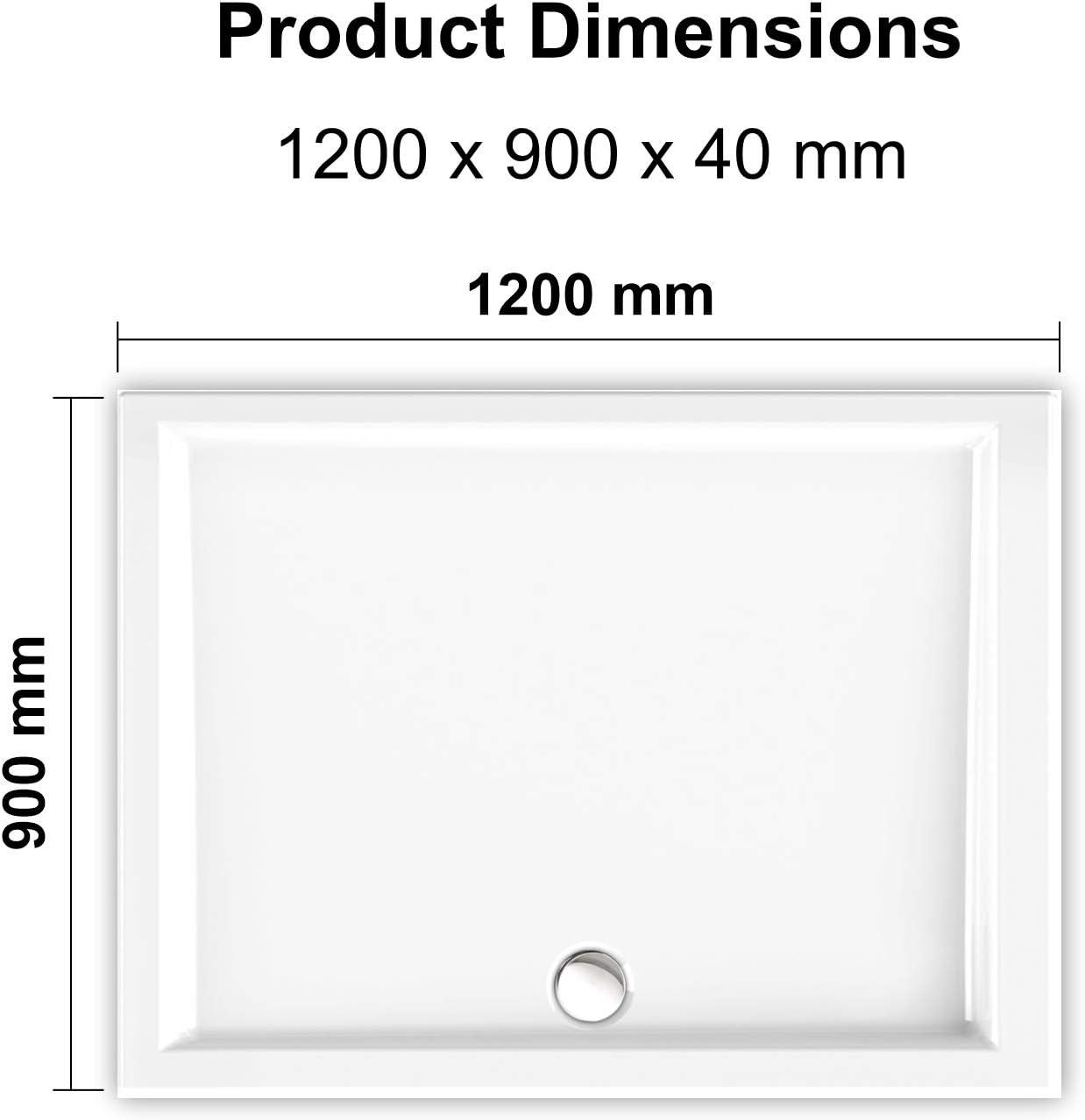 40mm Slimline Shower Tray Enclosure Base Acrylic Rectangle Rectangular Glossy White Finish Wet Room with Free Waste 1000x700mm