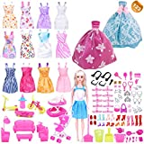 EuTengHao 123 Pcs Barbie Doll Clothes Contain 13 Dresses and 2 Handmade Fashion Wedding Party Gown Outfits Dresses,108 Accessories,Baby,Bike, Stroller,Scooter,15 Kids' Barbie Furniture