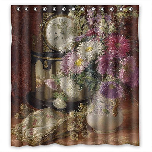 MaSoyy The Famous Classic Art Painting Flowers Blossoms Bath Curtains Of Polyester Width X Height / 66 X 72 Inches / W H 168 By 180 Cm Decoration Gift For Boys Hotel Mother Relatives. Wi (Ideas Flower Bed Rustic)