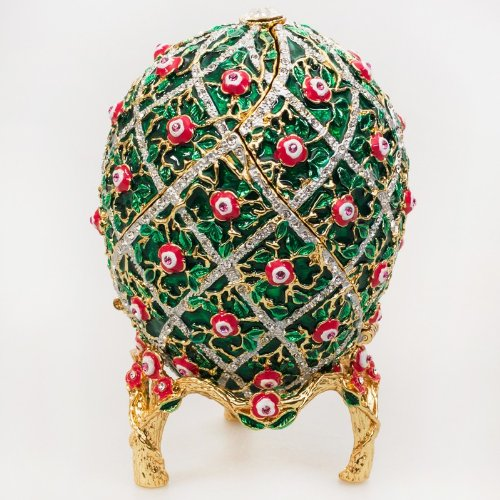 (Swarovski Crystals Ornamental Rose Trellis Motifs Green Gold Plated Faberge Style Egg Box Figurine Limited Edition Collectible Faberge Reproduction)