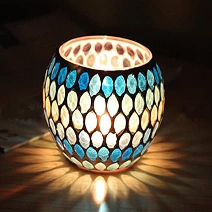 Moroccan Handmade Glass Mosaic Candle Holder Festival Decorative Tea Candlestick