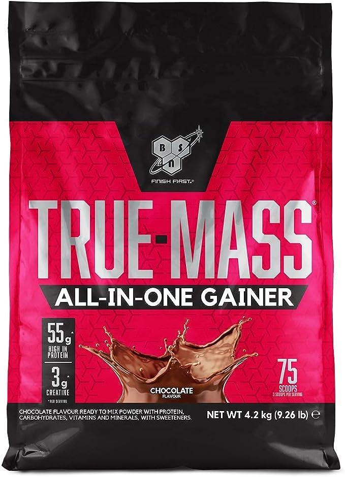 BSN True Mass All In One Gainer, Proteínas para Aumentar Masa Muscular con Creatina Monohidratada, Glutamina, Vitamina D y Zinc, Chocolate, 25 ...