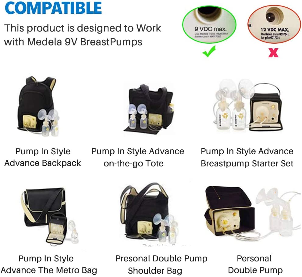 CE FCC Approved Power Adapter Replaces Part # 67174 9 Volt Car Vehicle Lighter Adapter for Medela Pump-in-Style Advanced Breast Pump