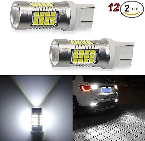 2 White LED Backup Daytime Running Reverse Light DRL Bulbs 54-SMD 3157 T20 Sales