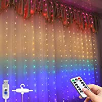 Window Curtain String Light,300 LED USB Powered String Lights,8 Lighting Modes with Hook Remote Control USB Powered and…