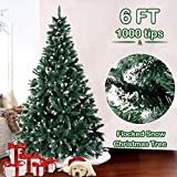 6FT Flocked Snow Christmas Tree, Artificial Christmas Pine Trees with Metal Stand for Festive Holiday Decor (1000 Tips)