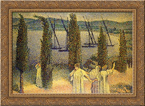 Coastal View with Cypress Trees 24x18 Gold Ornate Wood Framed Canvas Art by Henri-Edmond Cross