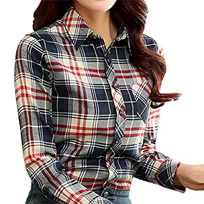 Cekaso Women's Long Sleeve Shirt Slim Fit Checkered Plaid Flannel Button Down Shirt
