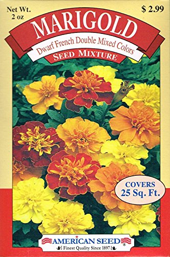 American Seed AS20MAR Marigold Seed Mixture, Dwarf French Double Mixed Colors, 25 Square Foot Shaker Box (2 Ounce)