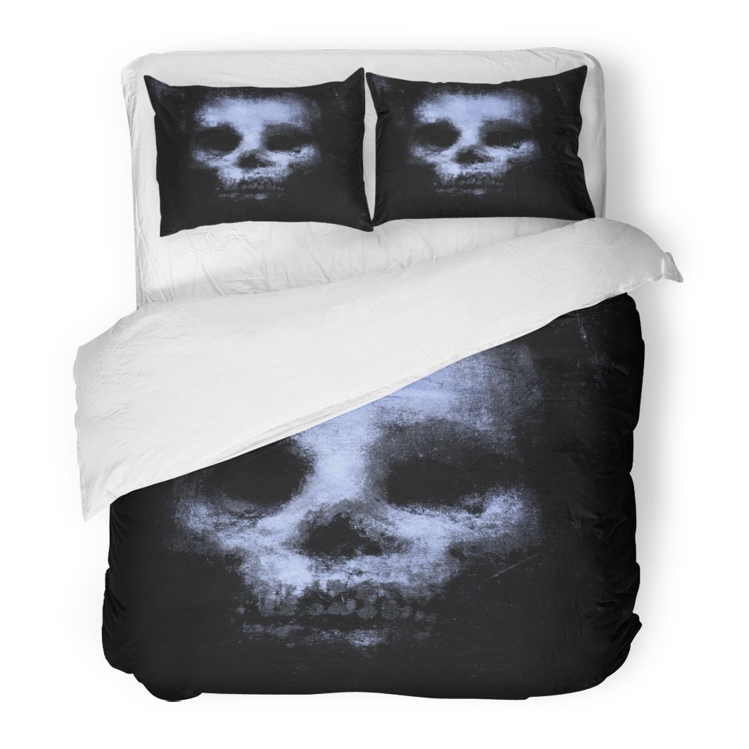 SanChic Duvet Cover Set Blue Vintage Horror Skull Halloween Movie Project Scary Abstract Black Decorative Bedding Set Pillow Sham Twin Size