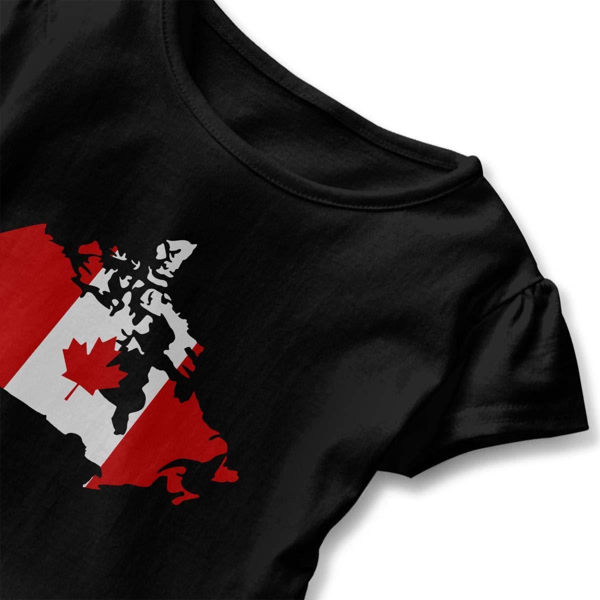 SHIRT1-KIDS Canadian Map with Canada Flag T-Shirts Toddler//Infant Girls Short Sleeve Ruffles Shirt T-Shirt for 2-6T