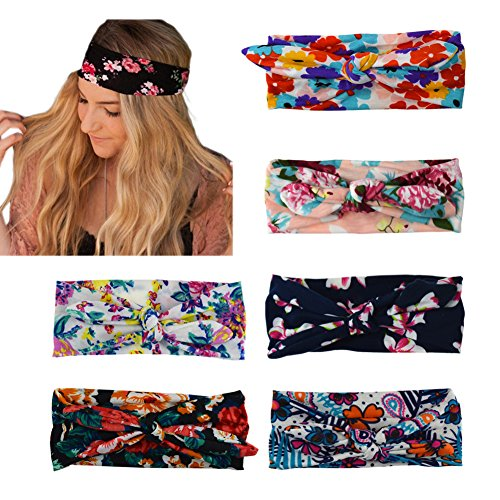 DRESHOW 6 Pack Women's Headbands Headwraps Hair Bands Bows - Scarf Ladies Tie
