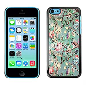 FECELL CITY // Duro Aluminio Pegatina PC Caso decorativo Funda Carcasa de Protección para Apple Iphone 5C // Tree Flowers Teal Drawing