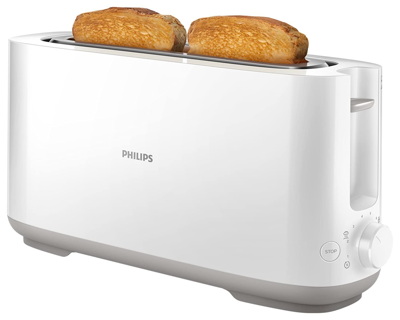 Philips HD Tostadora Funciones Ajustables Ranura Larga Modo Descongelar Rejilla Calienta bollos