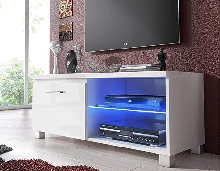 Comfort Home Innovation– Meuble Bas TV LED, Salon-Séjour, Blanc Mate et  Blanc Laqué, Dimensions: 100 x 40 x 42 cm de Profondeur.