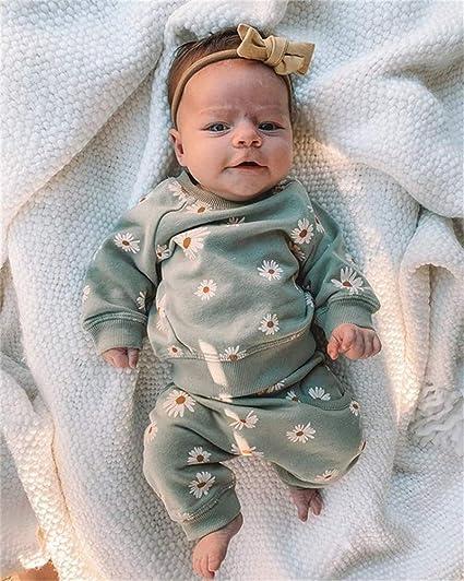 Stirnband Neugeborene Kleinkinder Sweatshirts Herbst Winter Top Outfits Bekleidungsset CiKiXZ Baby M/ädchen Kleidung Set 0-6 Monate G/änsebl/ümchen Langarmshirts Oberteile Hose