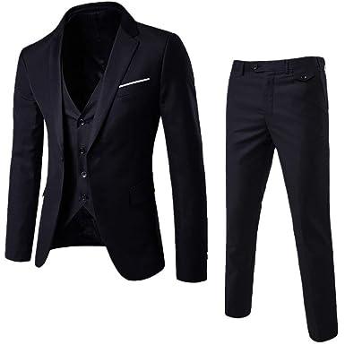 e950d5b57bc790 Mens 3-Piece Suit Notched Lapel One Button Slim Fit Formal Jacket Vest  Pants Set